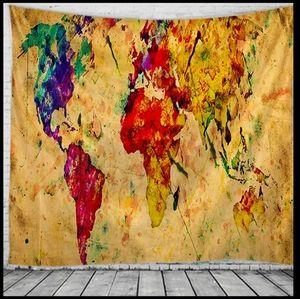 World Map Tie Dye Tapestry New